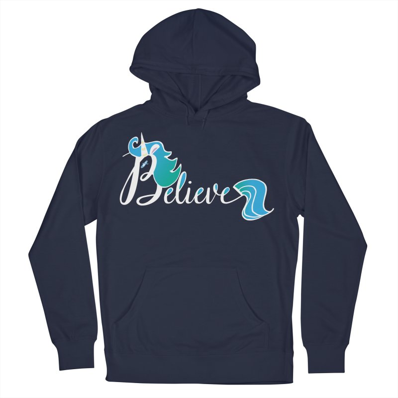 Believe Blue Aqua Unicorn Illustration Art Shirt T-Shirt T-Shirt Men's French Terry Pullover Hoody by Flourish & Flow's Artist Shop
