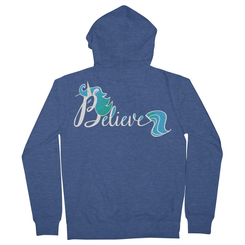 Believe Blue Aqua Unicorn Illustration Art Shirt T-Shirt T-Shirt Women's Zip-Up Hoody by Flourish & Flow's Artist Shop