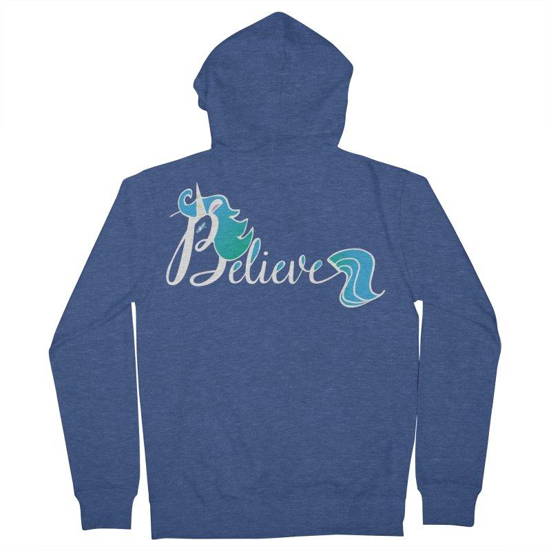 Believe Blue Aqua Unicorn Illustration Art Shirt T-Shirt T-Shirt Men's Zip-Up Hoody by Flourish & Flow's Artist Shop