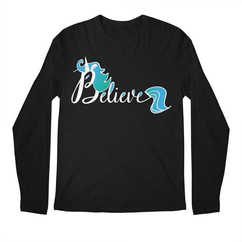 Believe Blue Aqua Unicorn Illustration Art Shirt T-Shirt T-Shirt Men's Longsleeve T-Shirt by Flourish & Flow's Artist Shop