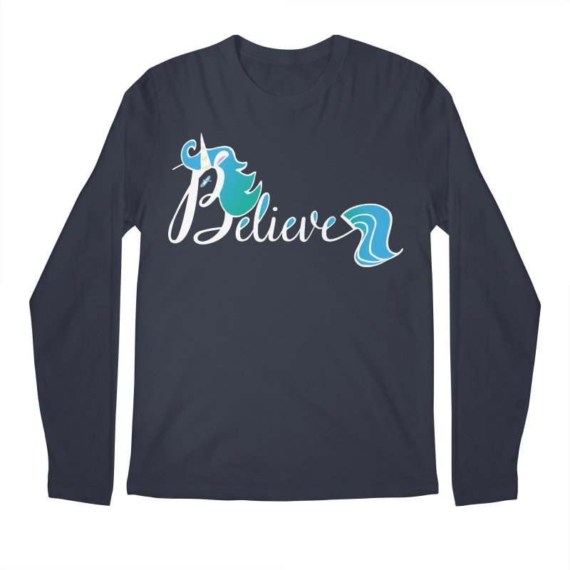 Believe Blue Aqua Unicorn Illustration Art Shirt T-Shirt T-Shirt Men's Longsleeve T-Shirt by Flourish & Flow's Artist Shop