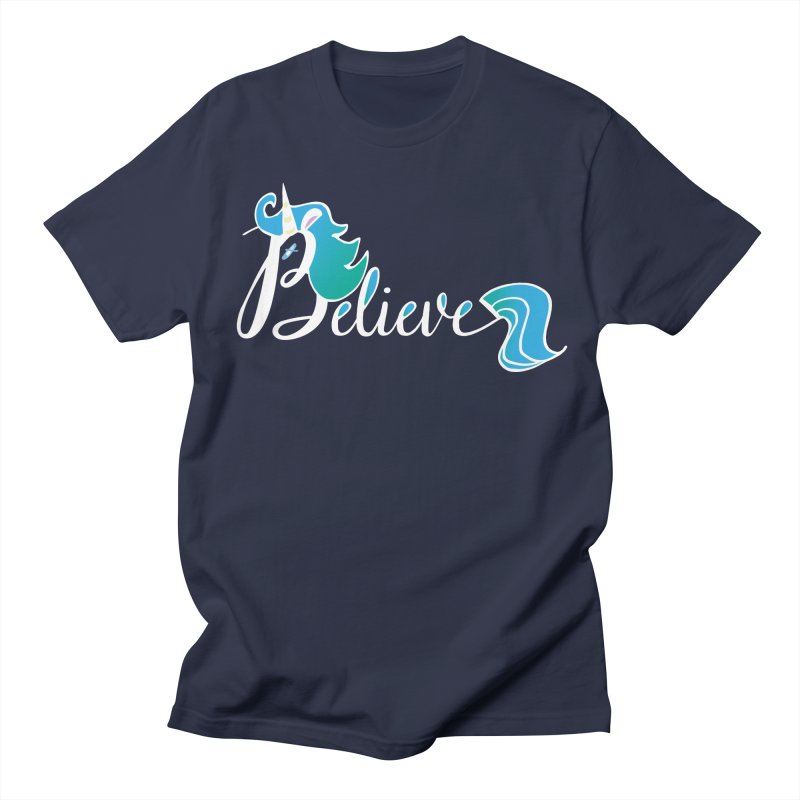 Believe Blue Aqua Unicorn Illustration Art Shirt T-Shirt T-Shirt Women's Unisex T-Shirt by Flourish & Flow's Artist Shop