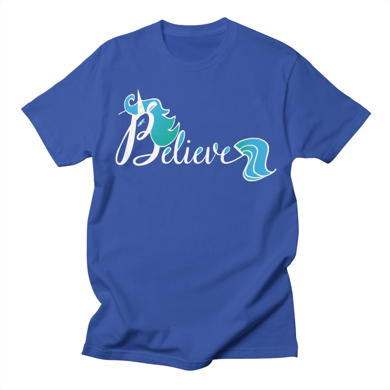Believe Blue Aqua Unicorn Illustration Art Shirt T-Shirt T-Shirt Men's T-Shirt by Flourish & Flow's Artist Shop