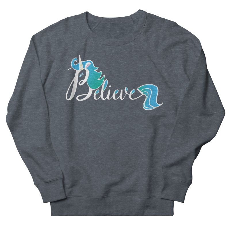 Believe Blue Aqua Unicorn Illustration Art Shirt T-Shirt T-Shirt Women's Sweatshirt by Flourish & Flow's Artist Shop