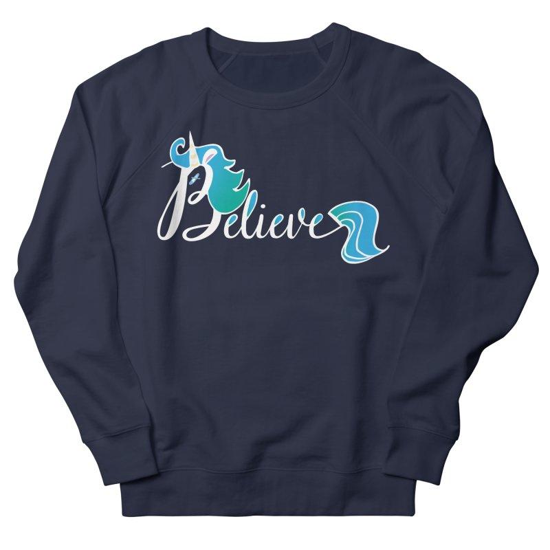 Believe Blue Aqua Unicorn Illustration Art Shirt T-Shirt T-Shirt Women's Sweatshirt by Flourish & Flow's Artist Shop