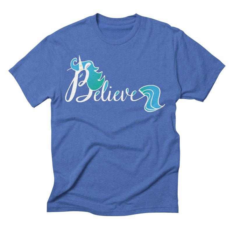 Believe Blue Aqua Unicorn Illustration Art Shirt T-Shirt T-Shirt Men's Triblend T-Shirt by Flourish & Flow's Artist Shop