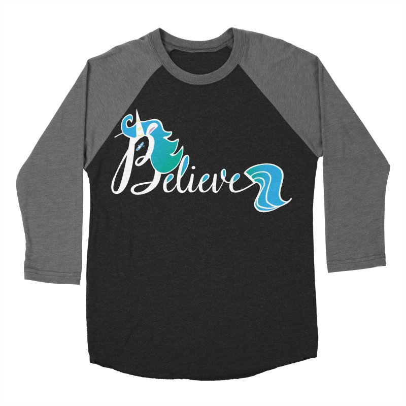 Believe Blue Aqua Unicorn Illustration Art Shirt T-Shirt T-Shirt Men's Baseball Triblend T-Shirt by Flourish & Flow's Artist Shop
