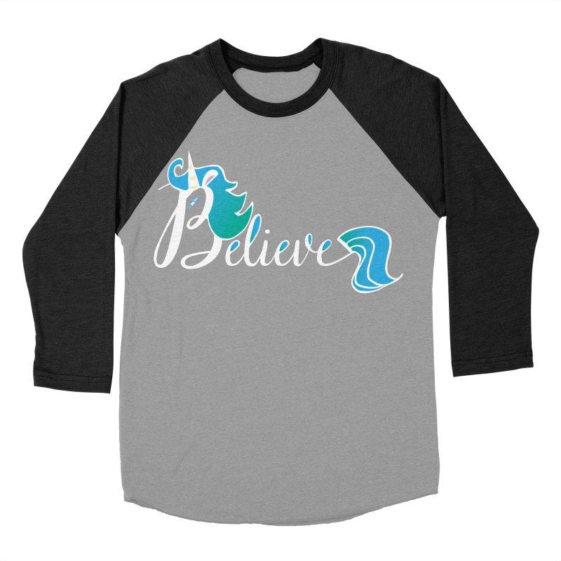 Believe Blue Aqua Unicorn Illustration Art Shirt T-Shirt T-Shirt Men's Baseball Triblend T-Shirt by Flourish & Flow's Artist Shop