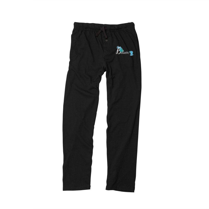 Believe Blue Aqua Unicorn Illustration Art Shirt T-Shirt T-Shirt Women's Lounge Pants by Flourish & Flow's Artist Shop