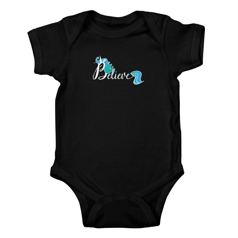 Believe Blue Aqua Unicorn Illustration Art Shirt T-Shirt T-Shirt Kids Baby Bodysuit by Flourish & Flow's Artist Shop