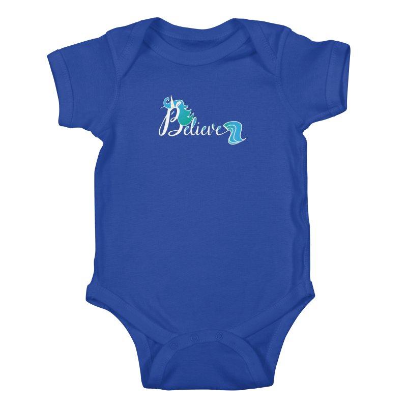 Believe Blue Aqua Unicorn Illustration Art Shirt T-Shirt T-Shirt Kids Baby Bodysuit by Flourish & Flow's Artist Shop