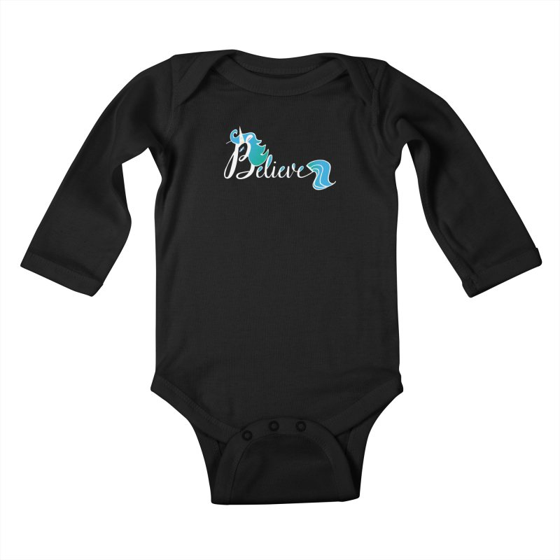 Believe Blue Aqua Unicorn Illustration Art Shirt T-Shirt T-Shirt Kids Baby Longsleeve Bodysuit by Flourish & Flow's Artist Shop