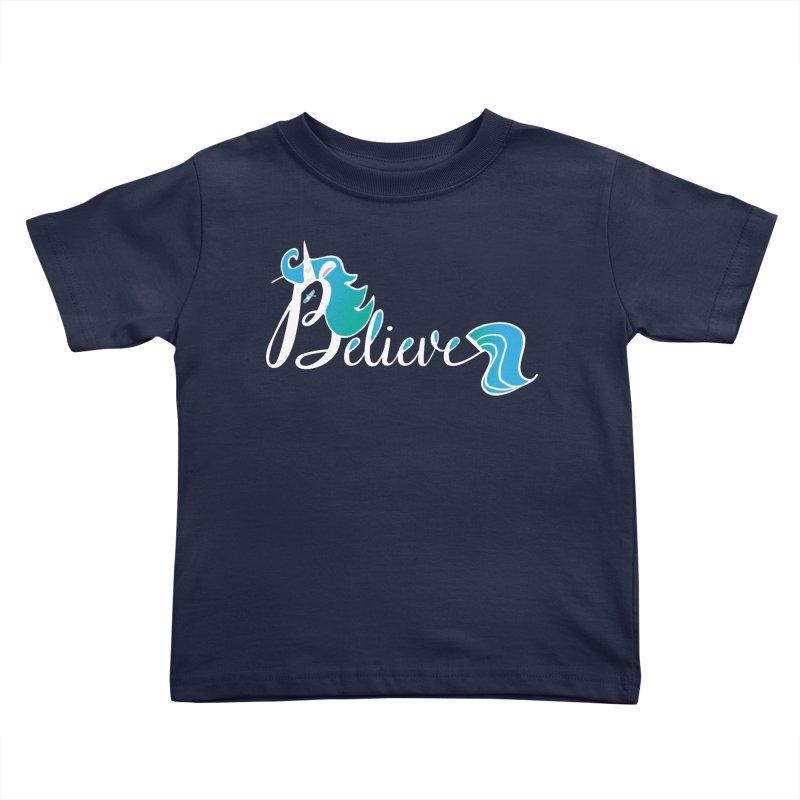 Believe Blue Aqua Unicorn Illustration Art Shirt T-Shirt T-Shirt Kids Toddler T-Shirt by Flourish & Flow's Artist Shop