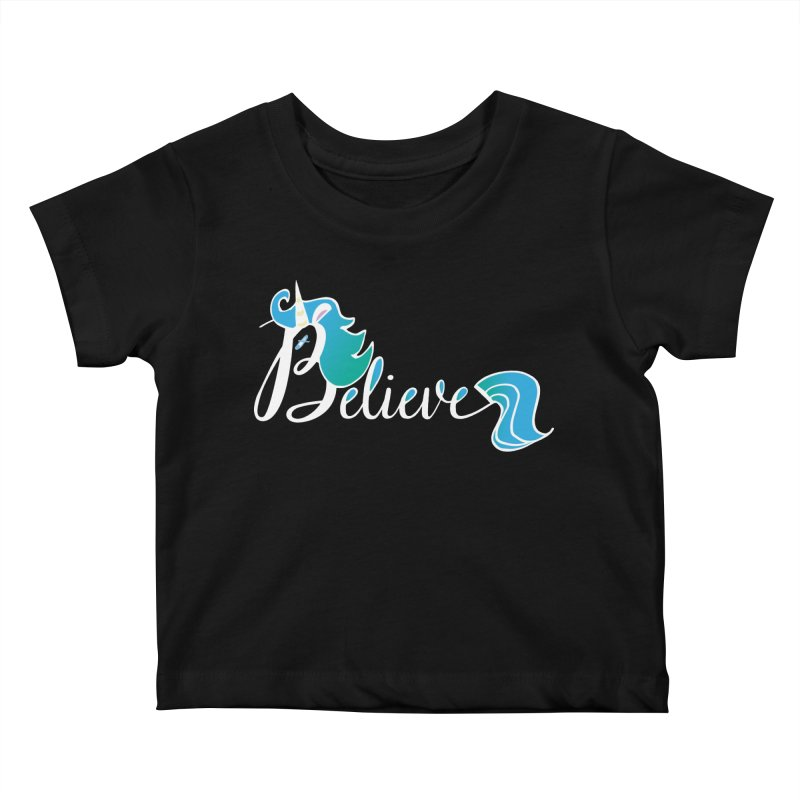 Believe Blue Aqua Unicorn Illustration Art Shirt T-Shirt T-Shirt Kids Baby T-Shirt by Flourish & Flow's Artist Shop