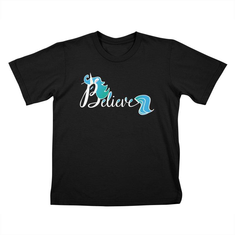 Believe Blue Aqua Unicorn Illustration Art Shirt T-Shirt T-Shirt Kids T-Shirt by Flourish & Flow's Artist Shop