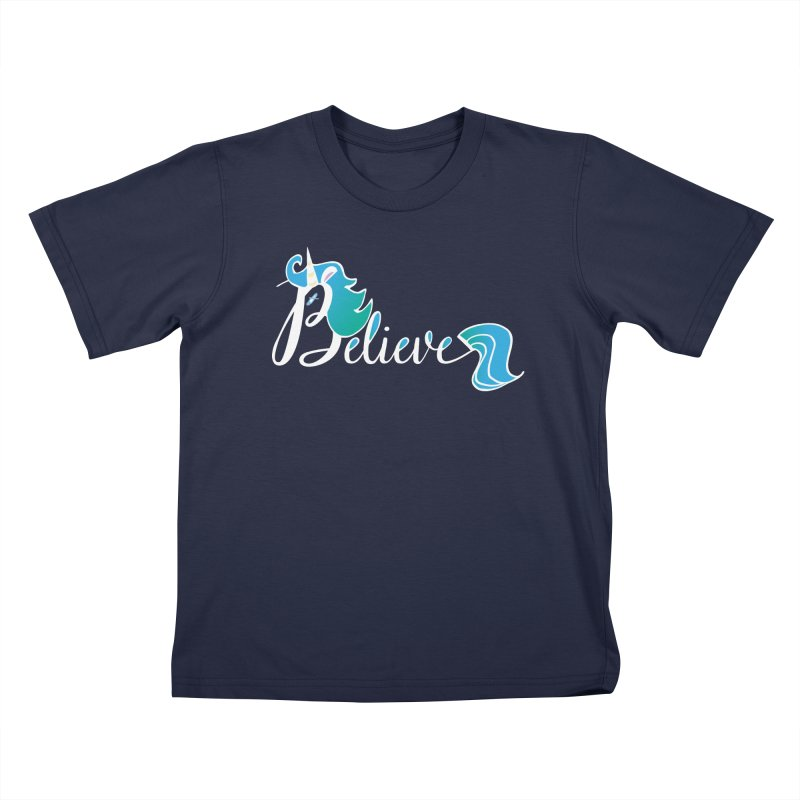 Believe Blue Aqua Unicorn Illustration Art Shirt T-Shirt T-Shirt Kids T-shirt by Flourish & Flow's Artist Shop