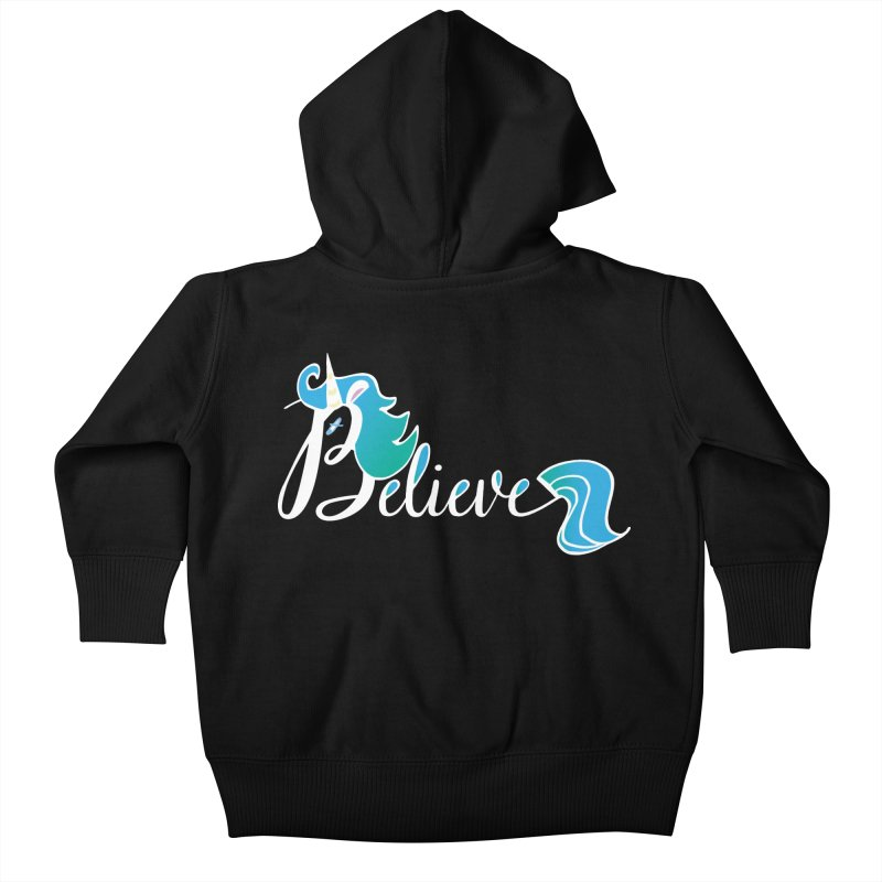 Believe Blue Aqua Unicorn Illustration Art Shirt T-Shirt T-Shirt Kids Baby Zip-Up Hoody by Flourish & Flow's Artist Shop