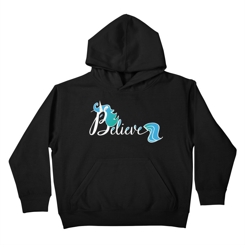 Believe Blue Aqua Unicorn Illustration Art Shirt T-Shirt T-Shirt Kids Pullover Hoody by Flourish & Flow's Artist Shop