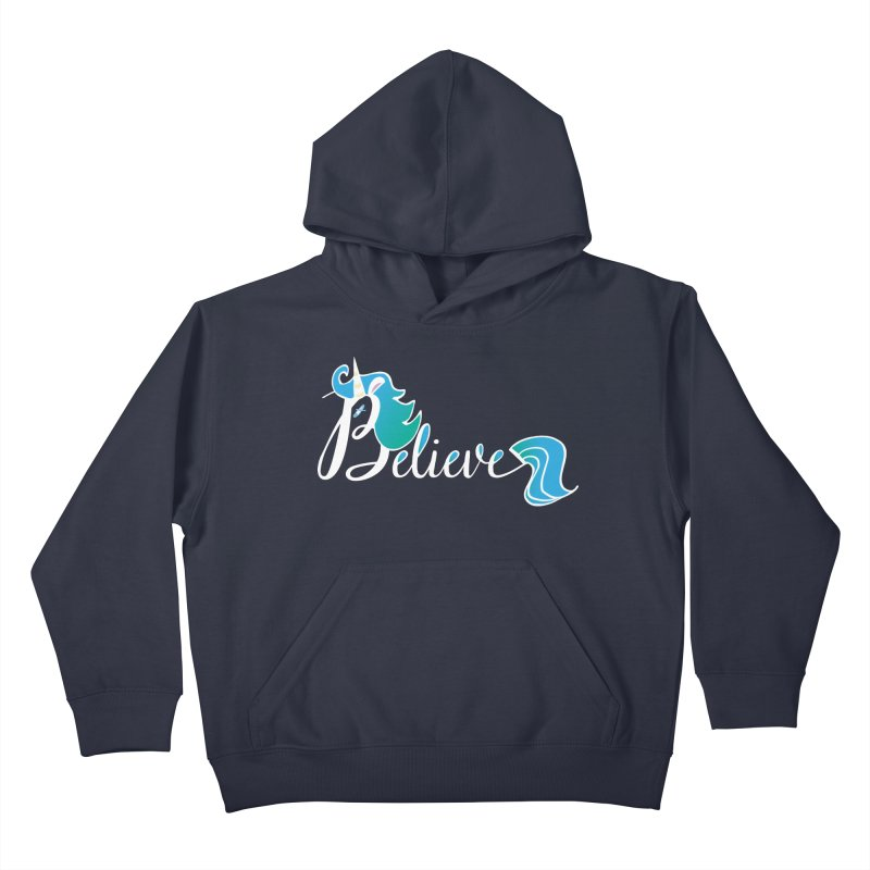 Believe Blue Aqua Unicorn Illustration Art Shirt T-Shirt T-Shirt Kids Pullover Hoody by Flourish & Flow's Artist Shop