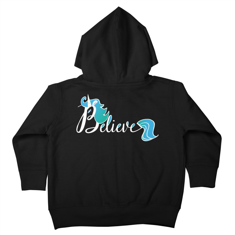 Believe Blue Aqua Unicorn Illustration Art Shirt T-Shirt T-Shirt Kids Toddler Zip-Up Hoody by Flourish & Flow's Artist Shop