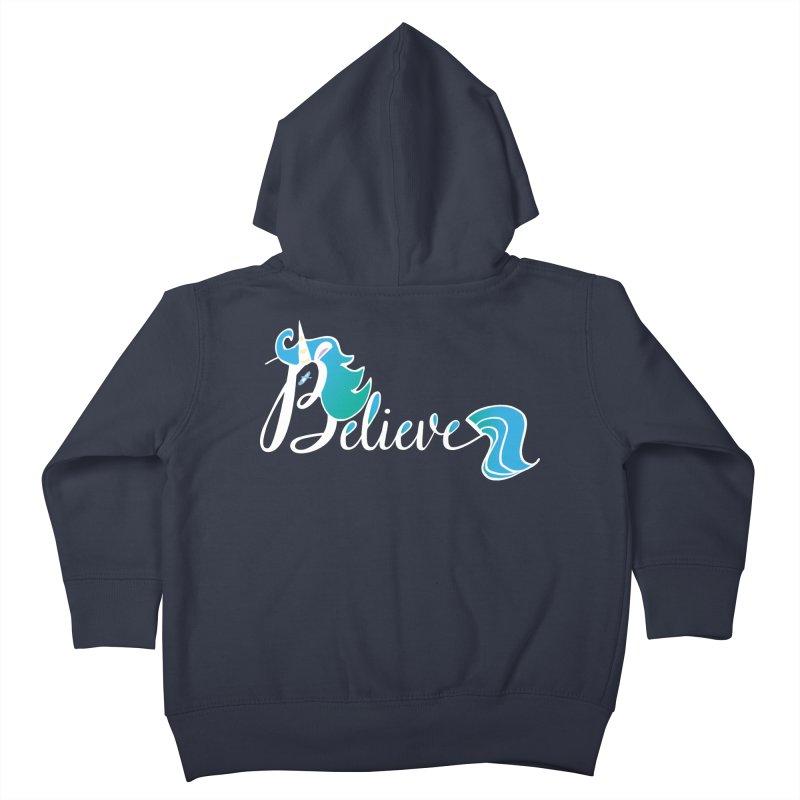 Believe Blue Aqua Unicorn Illustration Art Shirt T-Shirt T-Shirt Kids Toddler Zip-Up Hoody by Flourish & Flow's Artist Shop
