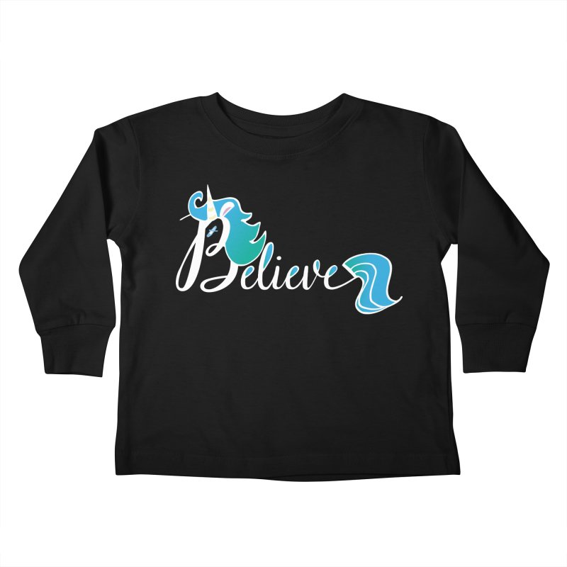 Believe Blue Aqua Unicorn Illustration Art Shirt T-Shirt T-Shirt Kids Toddler Longsleeve T-Shirt by Flourish & Flow's Artist Shop