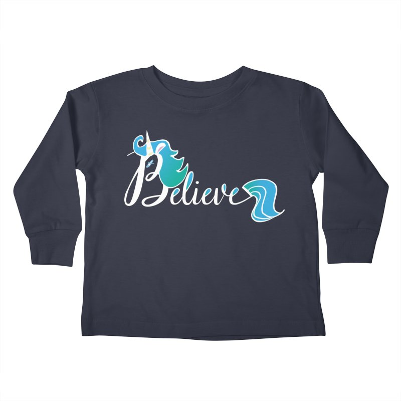 Believe Blue Aqua Unicorn Illustration Art Shirt T-Shirt T-Shirt   by Flourish & Flow's Artist Shop