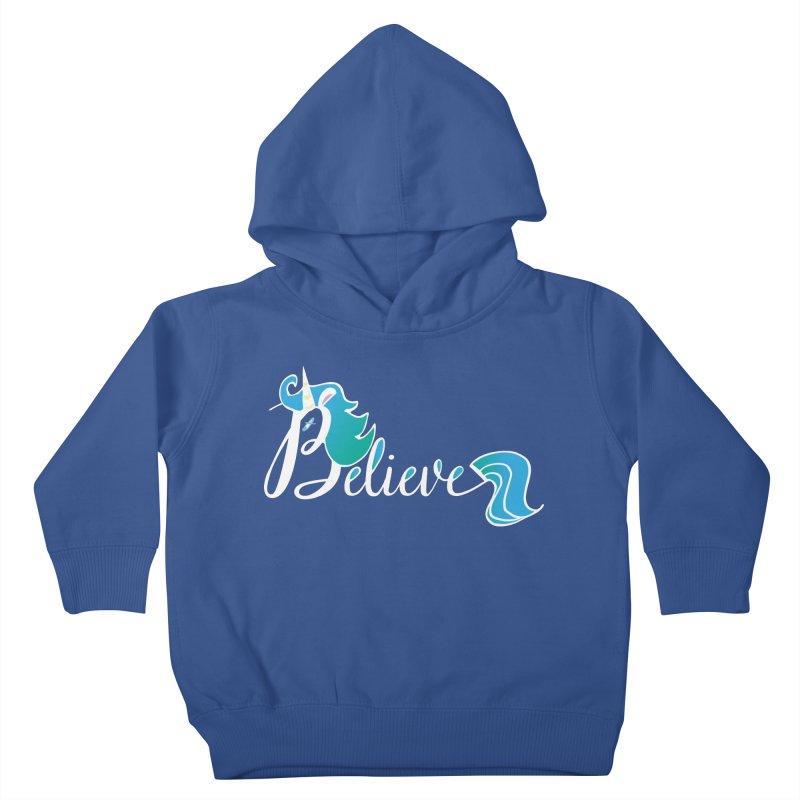Believe Blue Aqua Unicorn Illustration Art Shirt T-Shirt T-Shirt Kids Toddler Pullover Hoody by Flourish & Flow's Artist Shop