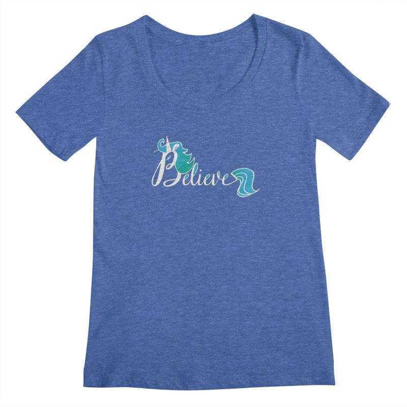 Believe Blue Aqua Unicorn Illustration Art Shirt T-Shirt T-Shirt Women's Scoopneck by Flourish & Flow's Artist Shop