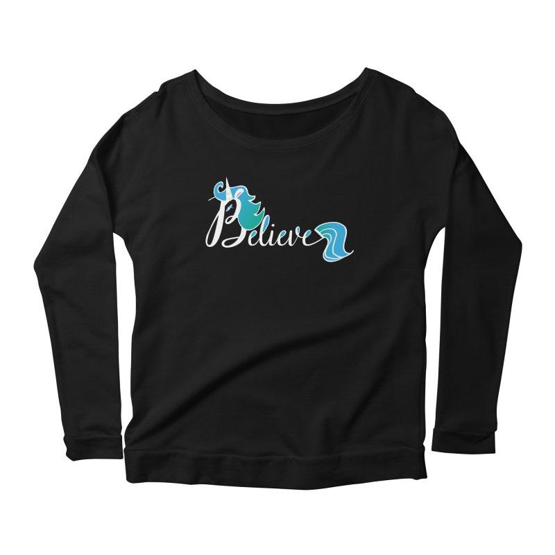Believe Blue Aqua Unicorn Illustration Art Shirt T-Shirt T-Shirt Women's Longsleeve Scoopneck  by Flourish & Flow's Artist Shop