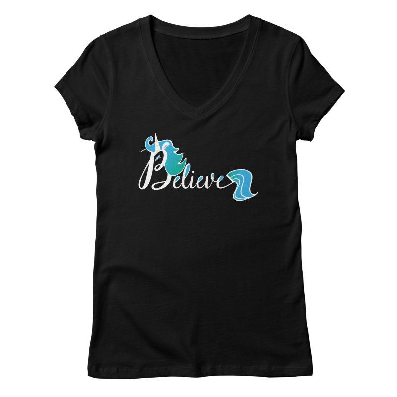 Believe Blue Aqua Unicorn Illustration Art Shirt T-Shirt T-Shirt Women's V-Neck by Flourish & Flow's Artist Shop
