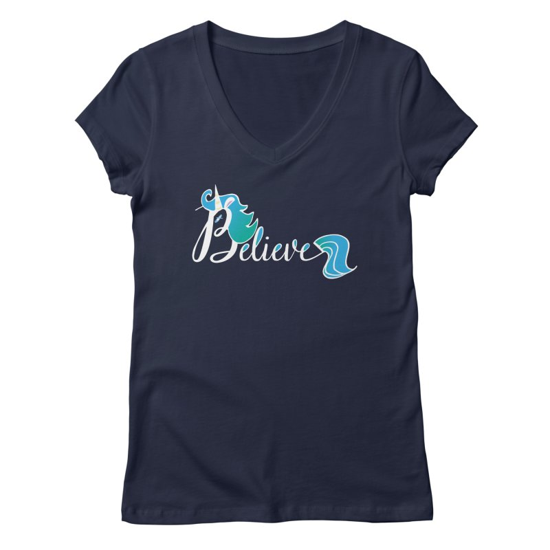 Believe Blue Aqua Unicorn Illustration Art Shirt T-Shirt T-Shirt Women's Regular V-Neck by Flourish & Flow's Artist Shop