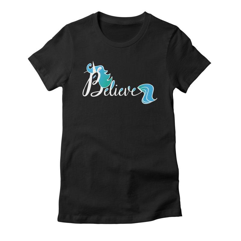 Believe Blue Aqua Unicorn Illustration Art Shirt T-Shirt T-Shirt Women's Fitted T-Shirt by Flourish & Flow's Artist Shop