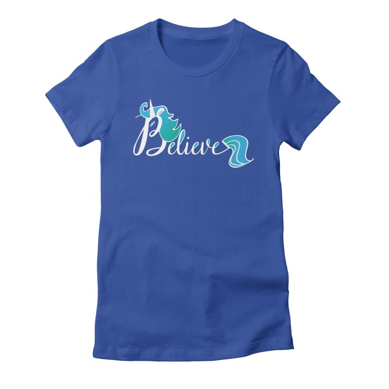 Believe Blue Aqua Unicorn Illustration Art Shirt T-Shirt T-Shirt Women's Fitted T-Shirt by Flourish & Flow's Artist Shop