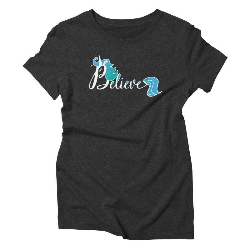 Believe Blue Aqua Unicorn Illustration Art Shirt T-Shirt T-Shirt Women's Triblend T-shirt by Flourish & Flow's Artist Shop