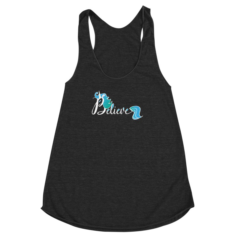Believe Blue Aqua Unicorn Illustration Art Shirt T-Shirt T-Shirt Women's Racerback Triblend Tank by Flourish & Flow's Artist Shop