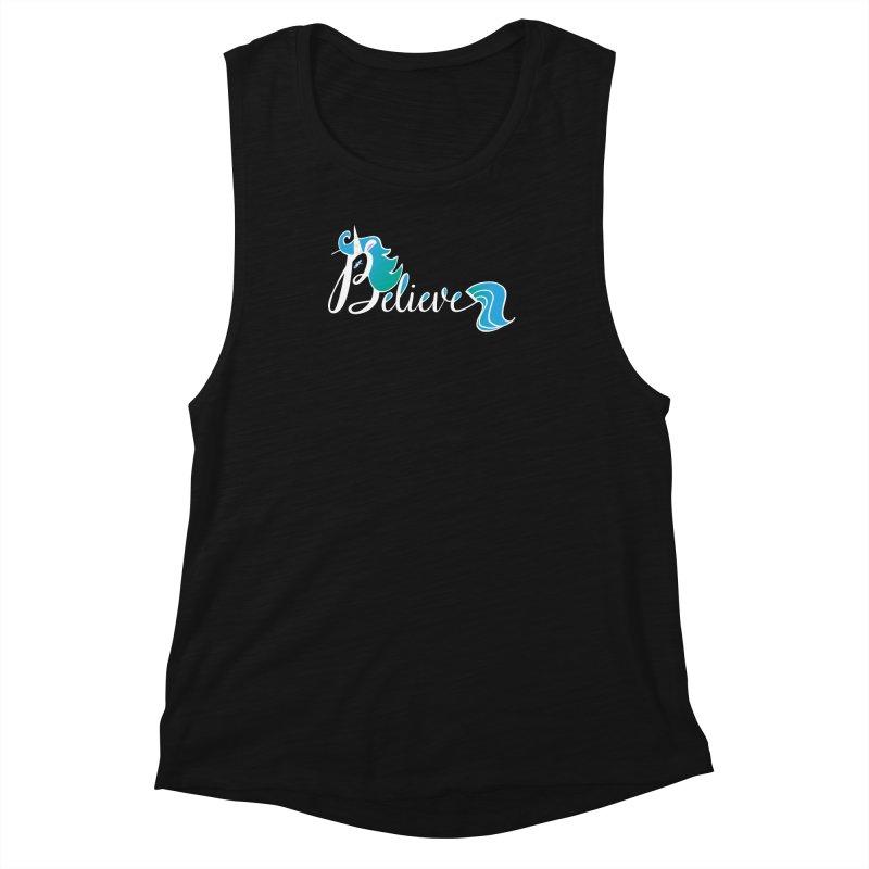 Believe Blue Aqua Unicorn Illustration Art Shirt T-Shirt T-Shirt Women's Muscle Tank by Flourish & Flow's Artist Shop