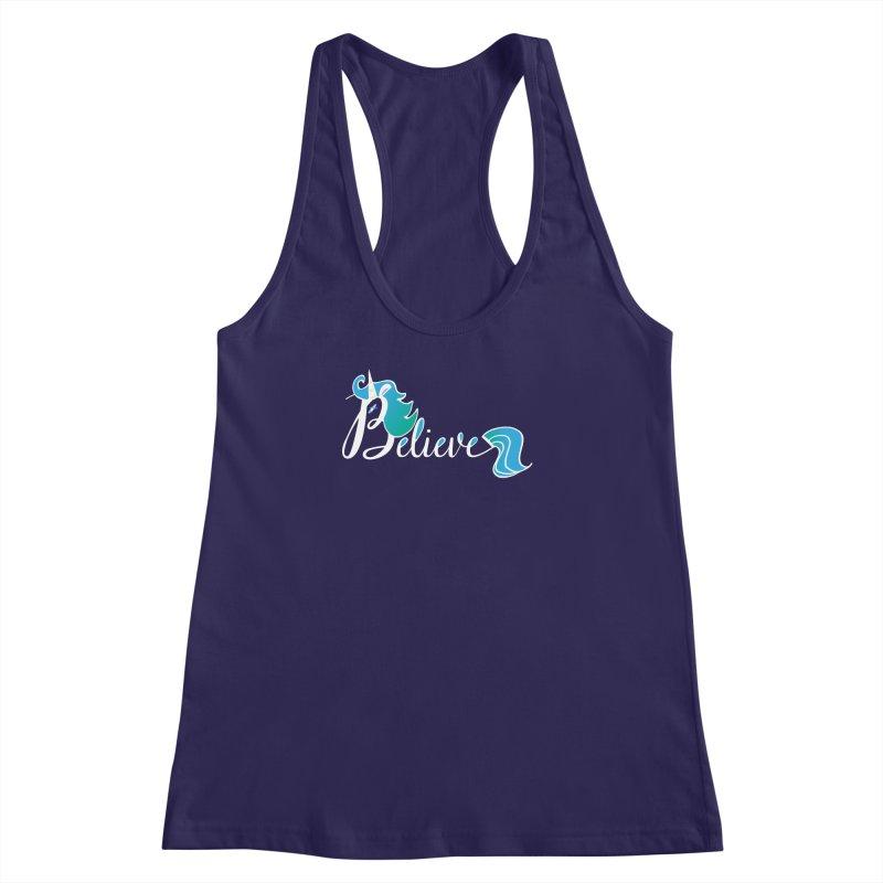 Believe Blue Aqua Unicorn Illustration Art Shirt T-Shirt T-Shirt Women's Racerback Tank by Flourish & Flow's Artist Shop
