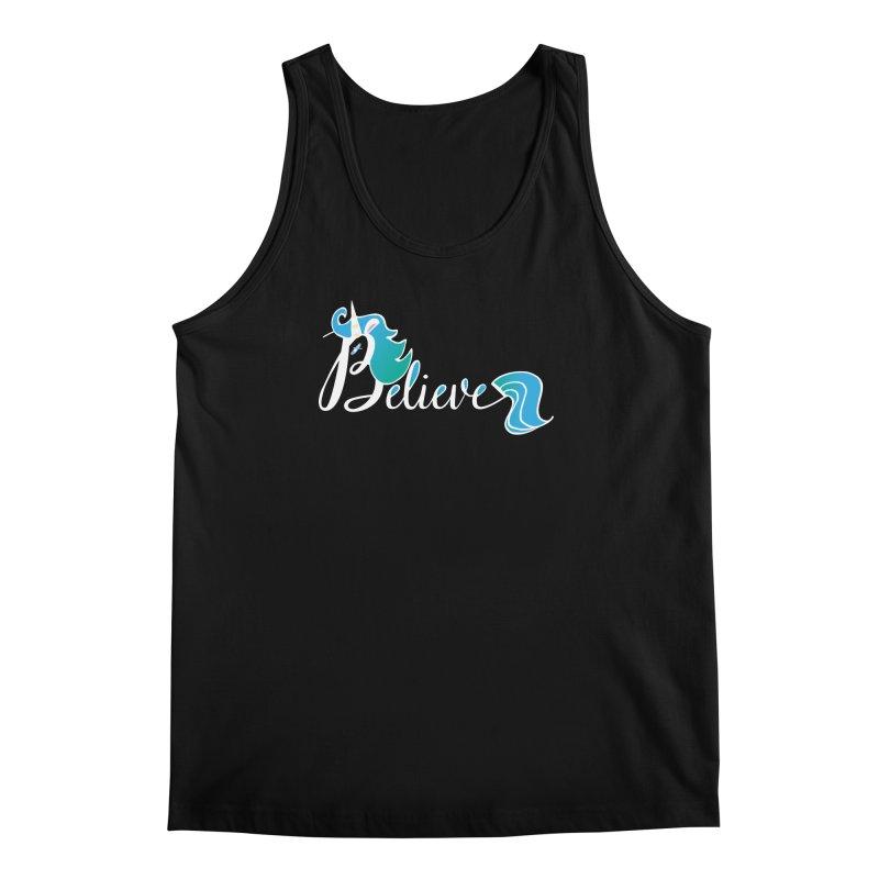 Believe Blue Aqua Unicorn Illustration Art Shirt T-Shirt T-Shirt Men's Tank by Flourish & Flow's Artist Shop