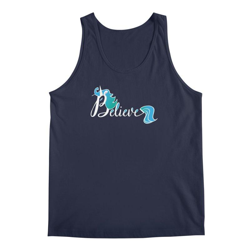 Believe Blue Aqua Unicorn Illustration Art Shirt T-Shirt T-Shirt Men's Regular Tank by Flourish & Flow's Artist Shop