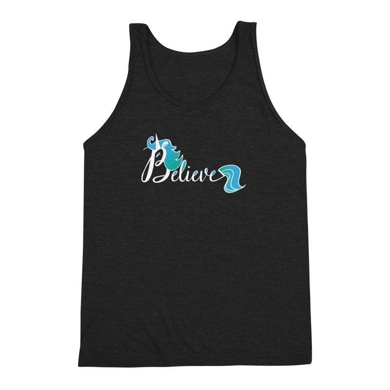 Believe Blue Aqua Unicorn Illustration Art Shirt T-Shirt T-Shirt Men's Triblend Tank by Flourish & Flow's Artist Shop