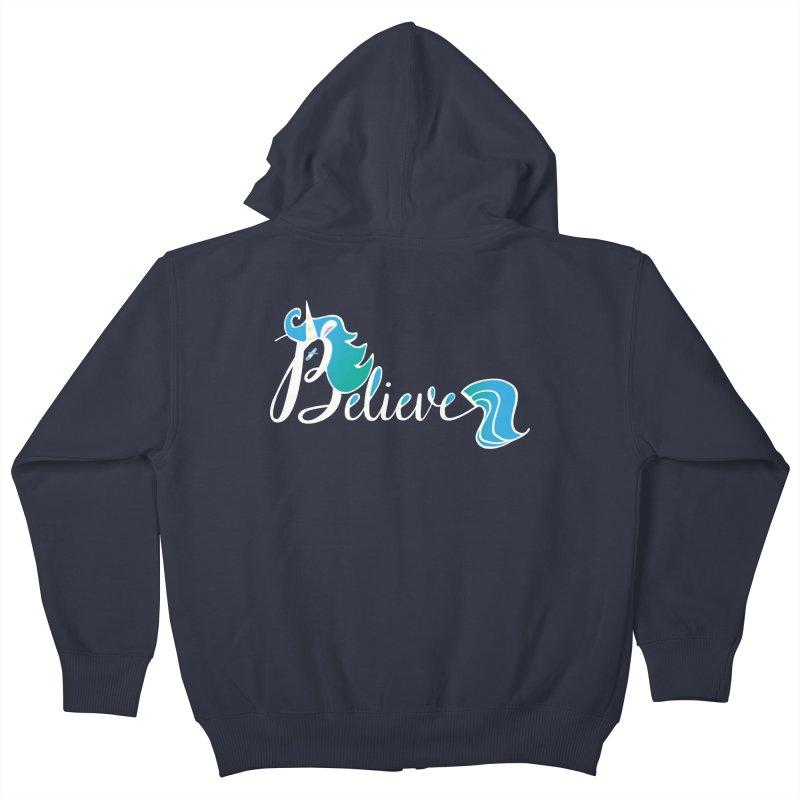 Believe Blue Aqua Unicorn Illustration Art Shirt T-Shirt T-Shirt Kids Zip-Up Hoody by Flourish & Flow's Artist Shop