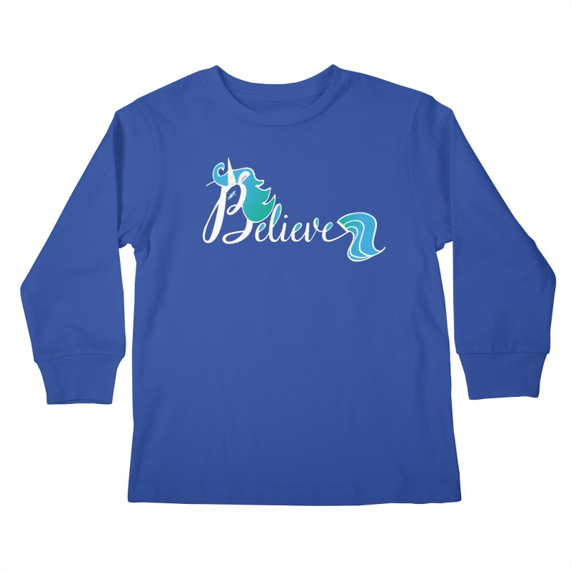 Believe Blue Aqua Unicorn Illustration Art Shirt T-Shirt T-Shirt Kids Longsleeve T-Shirt by Flourish & Flow's Artist Shop