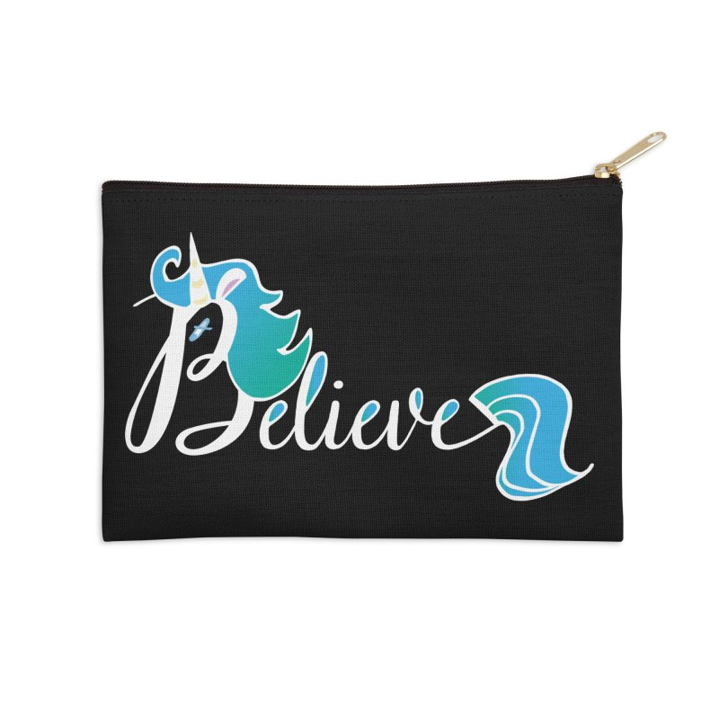 Believe Blue Aqua Unicorn Illustration Art Shirt T-Shirt T-Shirt Accessories Zip Pouch by Flourish & Flow's Artist Shop