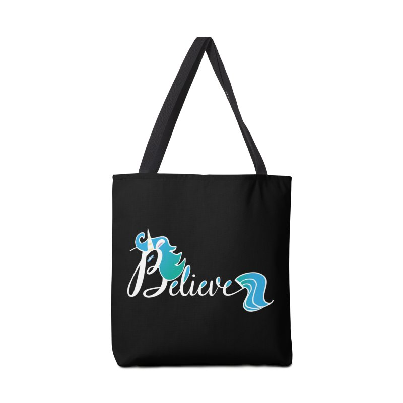 Believe Blue Aqua Unicorn Illustration Art Shirt T-Shirt T-Shirt Accessories Bag by Flourish & Flow's Artist Shop