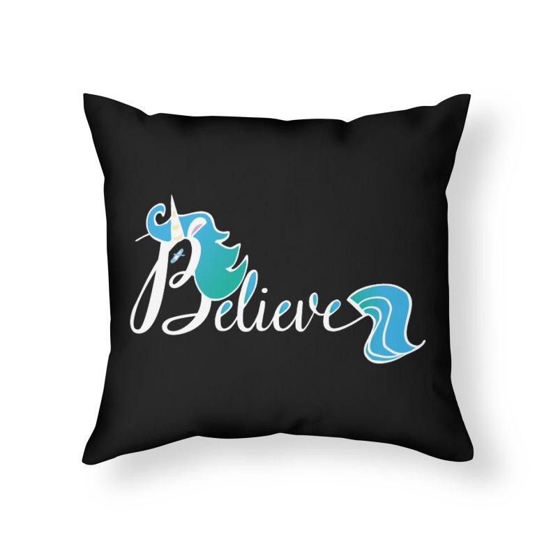 Believe Blue Aqua Unicorn Illustration Art Shirt T-Shirt T-Shirt Home Throw Pillow by Flourish & Flow's Artist Shop