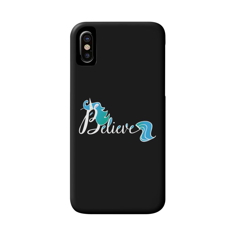 Believe Blue Aqua Unicorn Illustration Art Shirt T-Shirt T-Shirt Accessories Phone Case by Flourish & Flow's Artist Shop