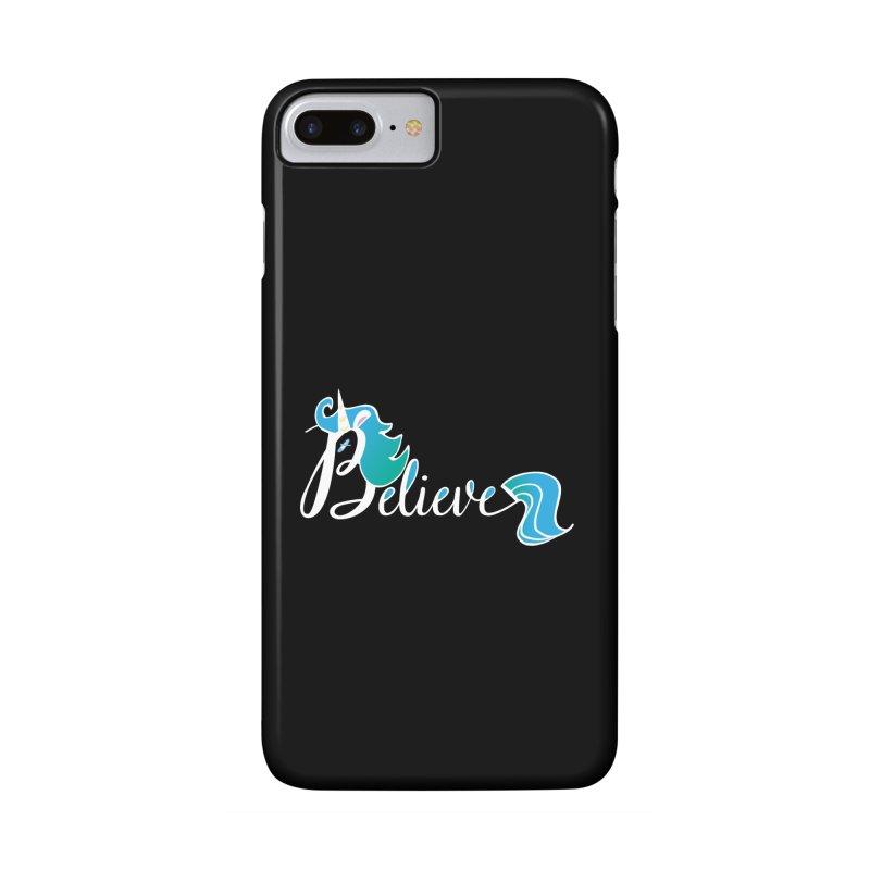 Believe Blue Aqua Unicorn Illustration Art Shirt T-Shirt T-Shirt Accessories Phone Case by Flourish & Flow's Artist Shop