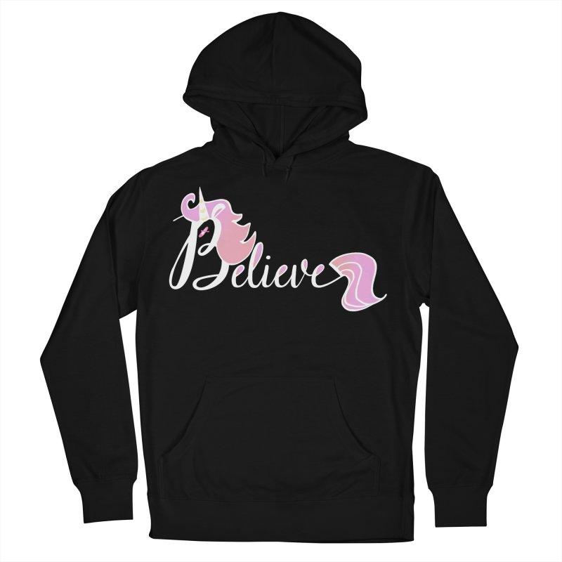 Believe Pink Unicorn Illustration Art Shirt T-Shirt Women's French Terry Pullover Hoody by Flourish & Flow's Artist Shop