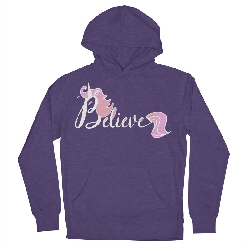 Believe Pink Unicorn Illustration Art Shirt T-Shirt Men's Pullover Hoody by Flourish & Flow's Artist Shop
